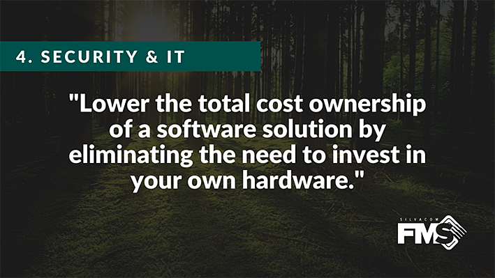 Lower the total cost ownership of a forestry software solution by eliminating the need to invest in your own hardware with our forest management software